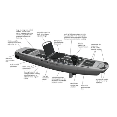 Point 65 KingFisher Modular Fishing Kayak | Gray - Kayak Creek