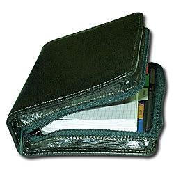 Leather organisor green 5 zip