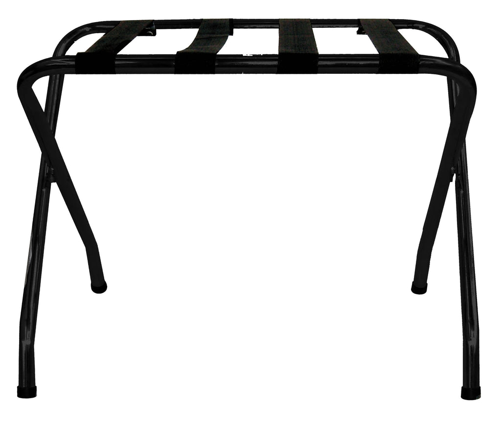 Black folding luggage rack with black straps, Hospitality - Presence