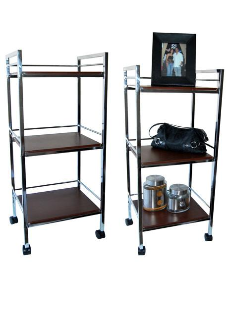 Wood and chrome 3 tier trolley on wheels