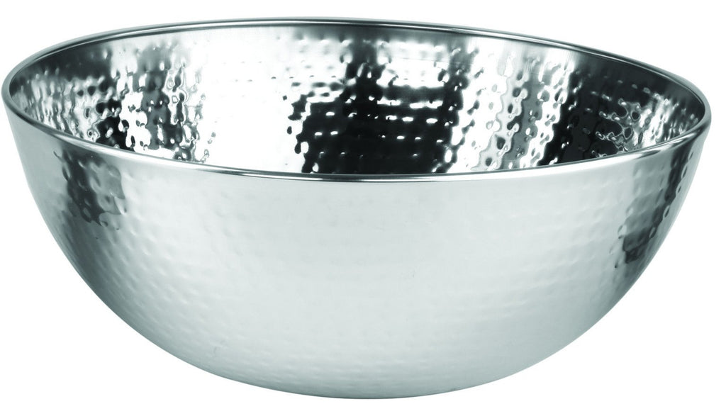 Stainless steel shallow bowl 'beaten' (24cm)