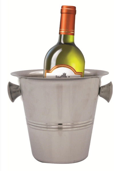 Stainless steel ice bucket with grip handles and centre stripe design