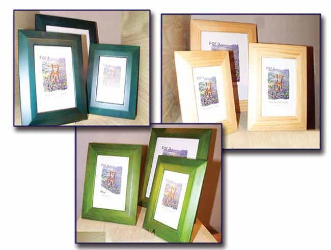 Frame 4x6 wood pf blue/natural/green