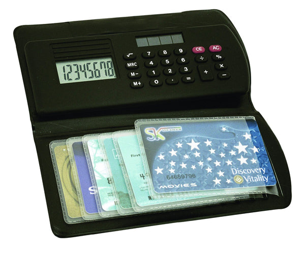 Black 8 digit calculator with solar panel and flip top card holder, Office - Presence
