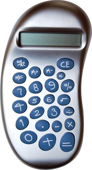 Pearl chrome handheld 8 digit 'bean' calculator