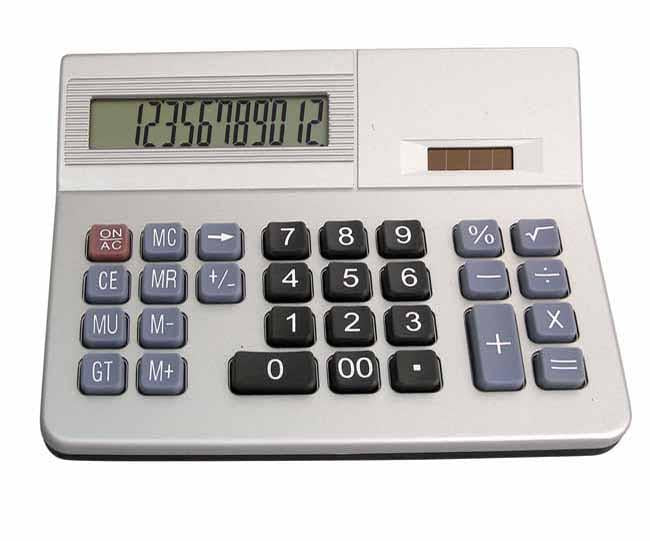 Silver 12 digit desk top calculator with solar panel