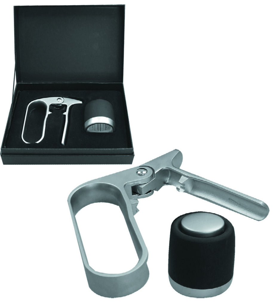Zinc alloy champagne stopper and opener in presentation box