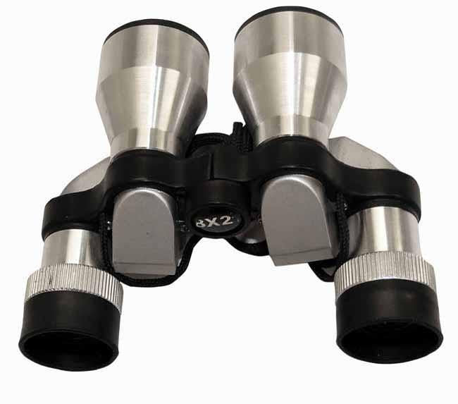 Silver opera binoculars with cleaning cloth and pouch