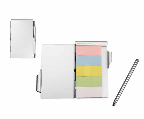 Aluminium stickit memo pad and pen
