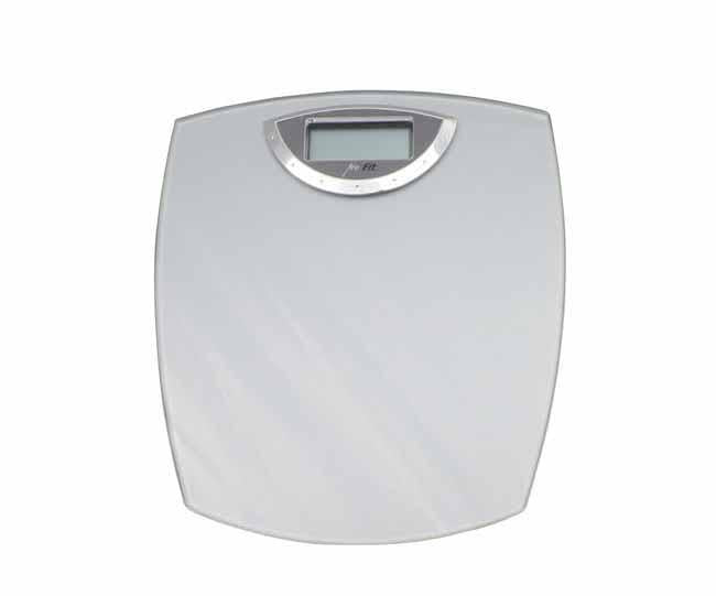 Chrome and glass digital scale