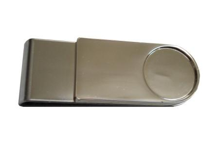 Silver money clip suitable for resin dome branding space