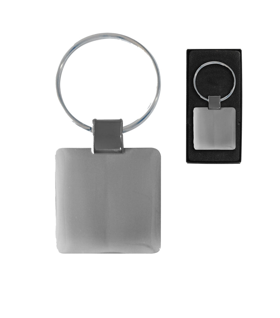 Silver sleek 'square' metal keyring mirror finish with silver fill in presentation box