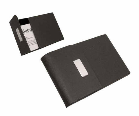 Black pu flip top business card holder