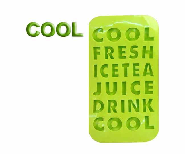 Light green 'words' ice cube tray