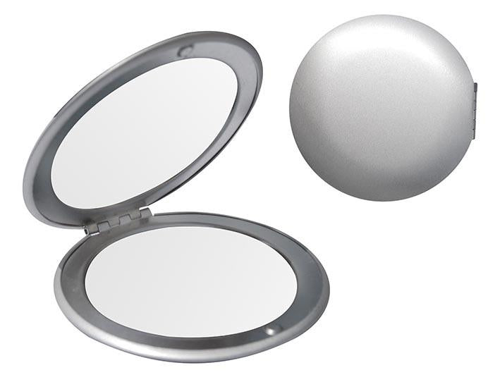 Silver double sided compact mirror (Ø-6.5cm)