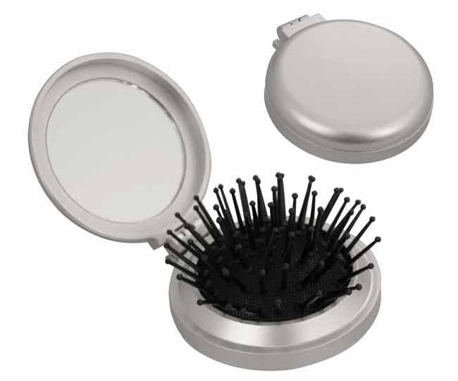 Silver compact folding brush and mirror (Ø-6.5cm)