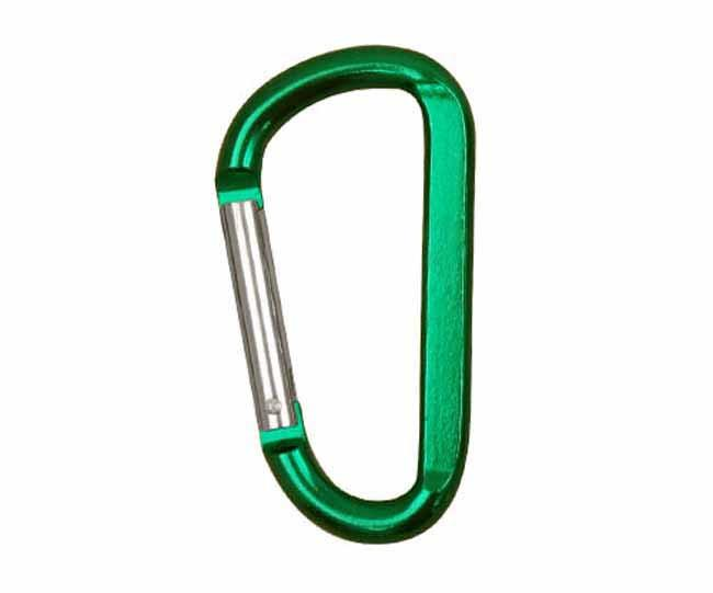 Metallic green carabiner clip