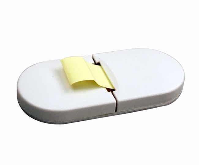 White sticky note dispenser (sticky notes included)