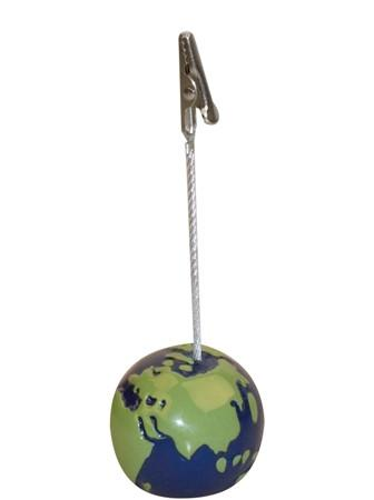 Blue/green round memo clip 'earth shape' in poly bag