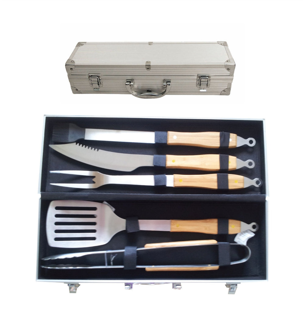 5pc stainless steel and wood braai set in aluminium case, Leisure - Presence
