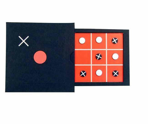 Compact slide out tic-tac toe game