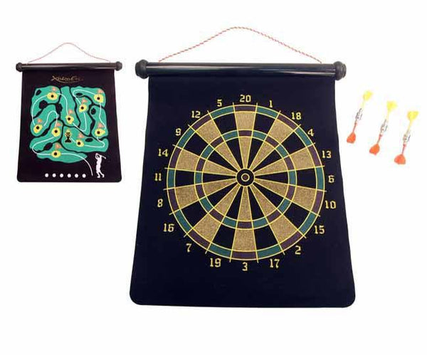 Magnetic 2-in-1 game includes dart board and golf course