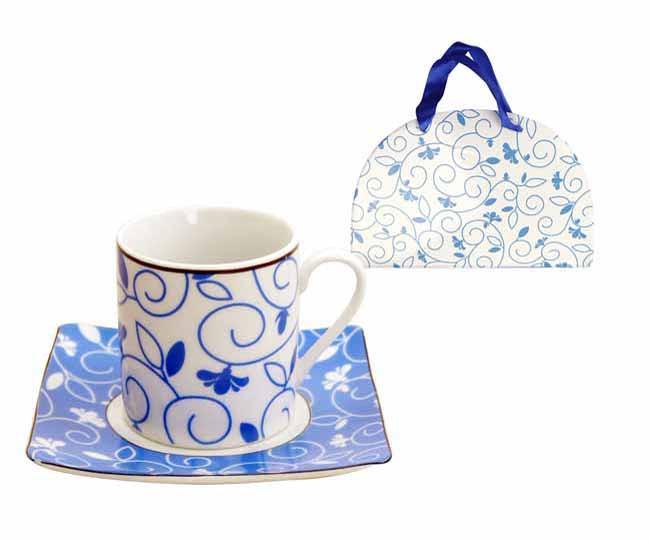 12pc espresso cup and saucer set 'blue flower' with matching gift box, Tea And Coffee - Presence