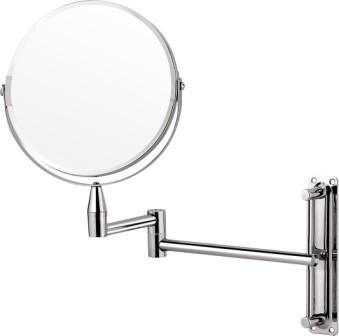 Chrome extendable wall mirror with normal and 3x magnification