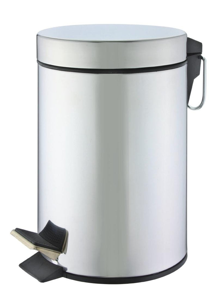 Stainless steel shiny finish 'round' pedal bin (5L)