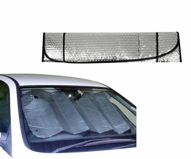Silver foldable windscreen shade with suctions
