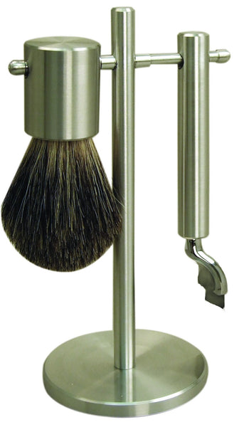 Matt stainless steel shaving set with 'mach 3' head and badger brush on stand