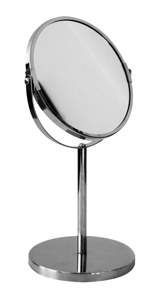 Chrome pedestal mirror normal and 5x magnification