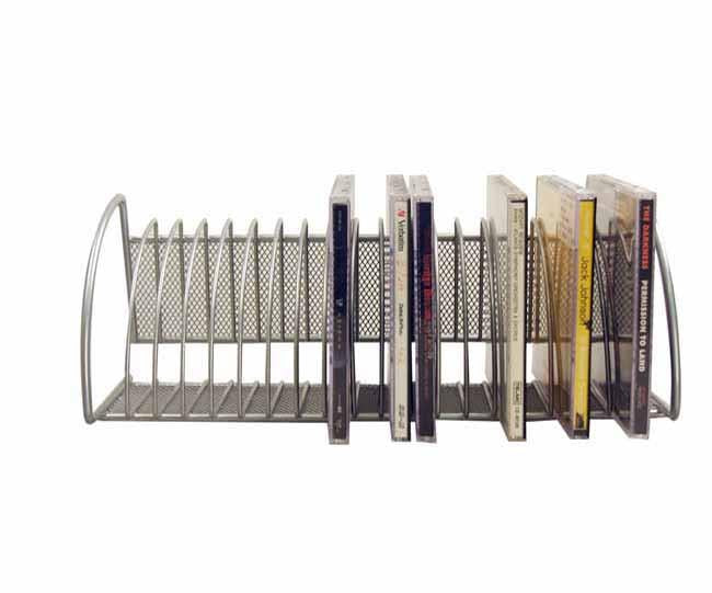 Silver mesh CD rack with logo plate (holds 20 CD's)