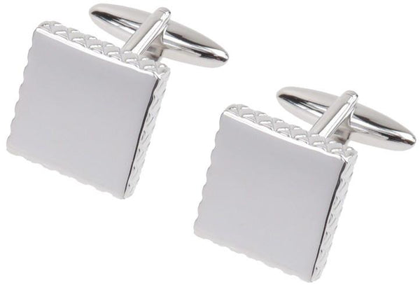 Rhodium plated cufflinks 'square with ribbed edge' in presentation box