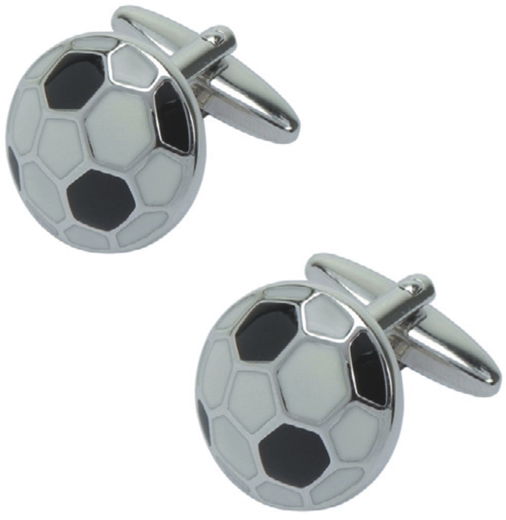 Black and white cufflinks in presentation box 'soccer ball', Men's General - Presence
