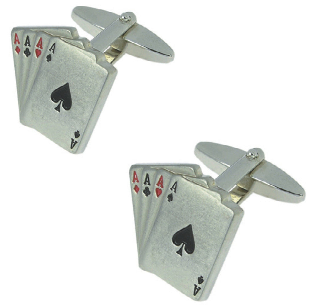 Brushed rhodium plated cufflinks 'aces' set in presentation box