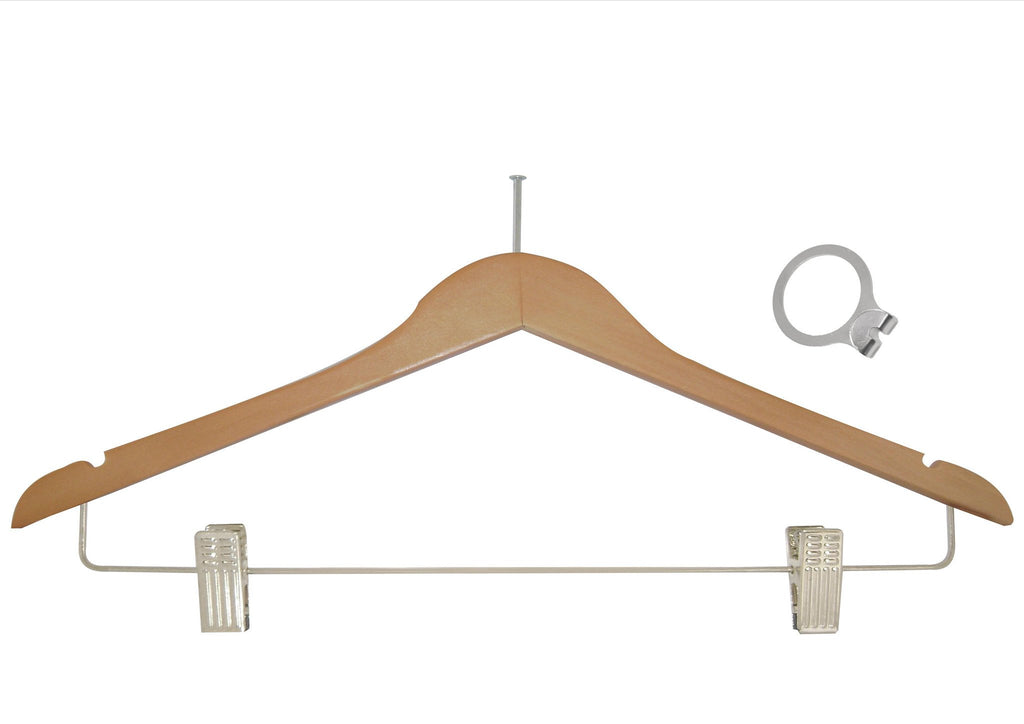 Natural anti-theft skirt hanger with clips and silver accessory