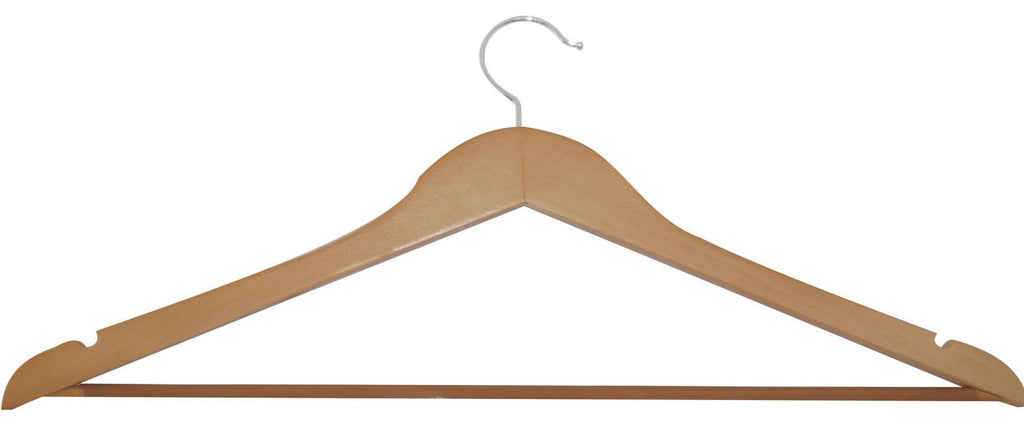 Unstained natural lotus wood trouser hanger with non slip bar
