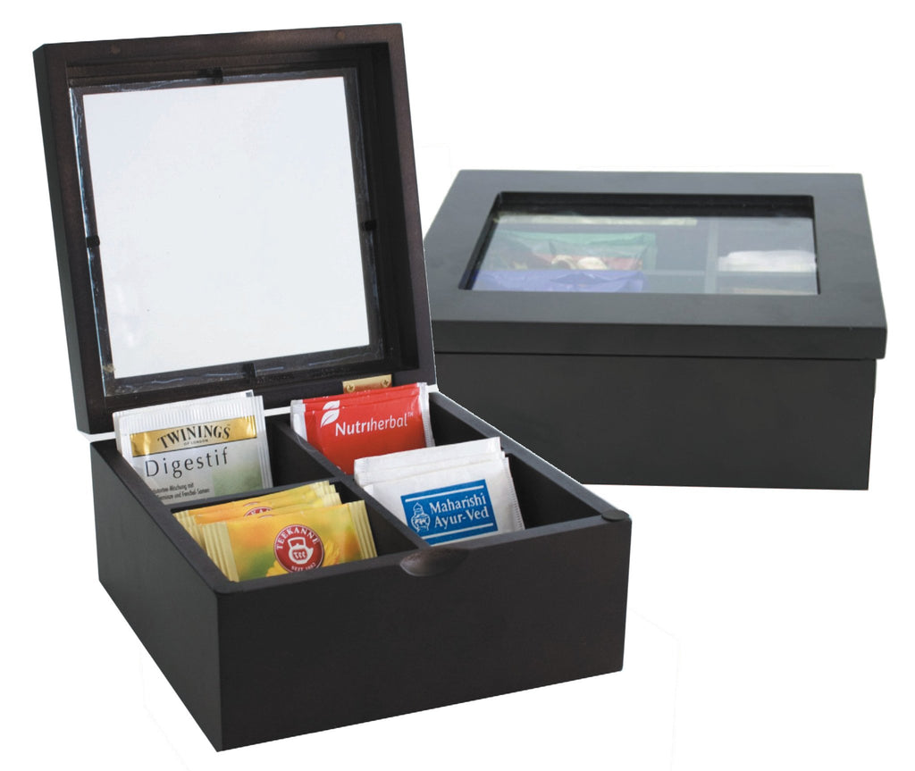 Dark wood tea chest with 4 compartments and glass lid