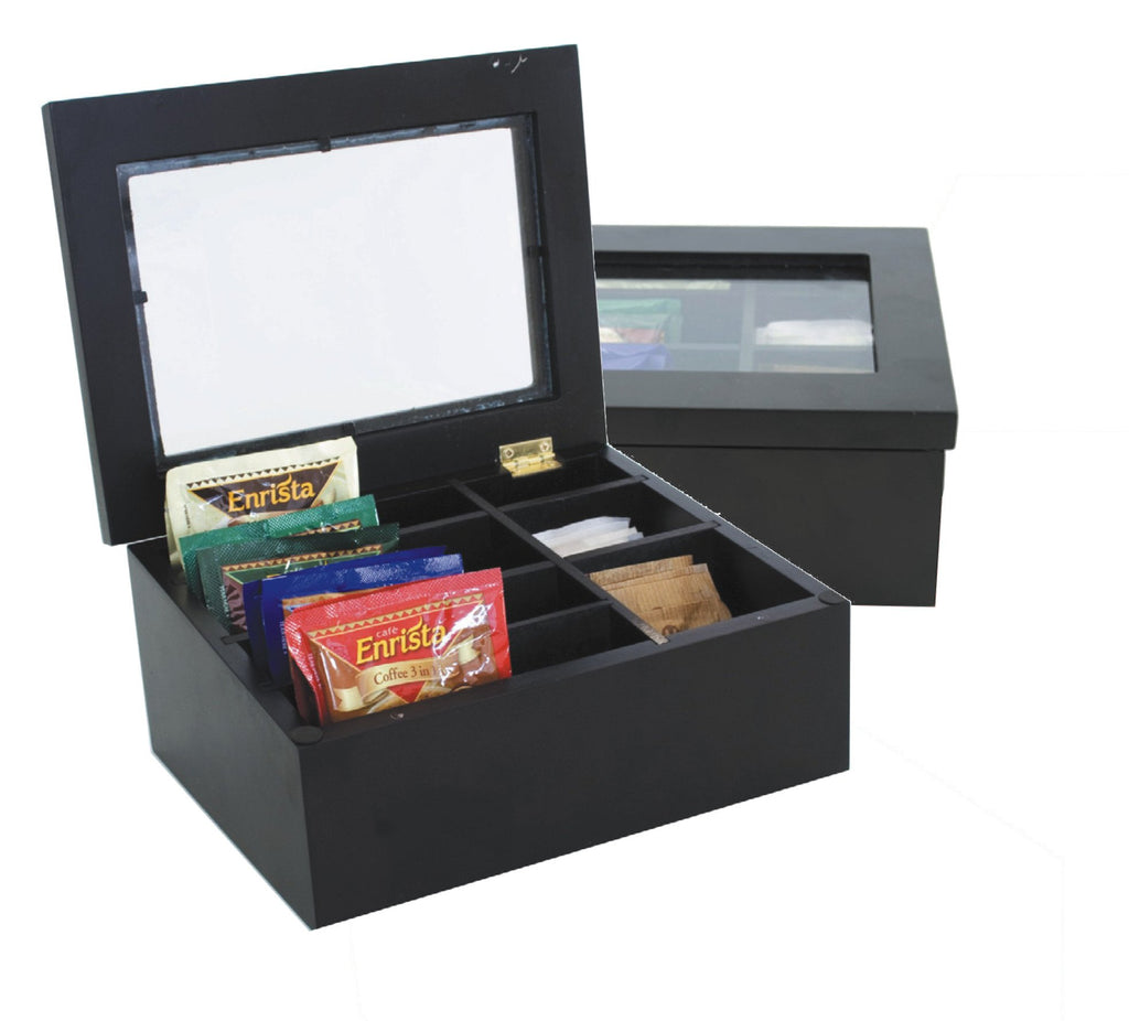 Black wooden tea and sachet chest (7 compartments) with glass lid