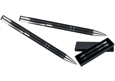 Black and silver ballpoint pen and pencil set 'technical' in presentation box, Pens - Presence