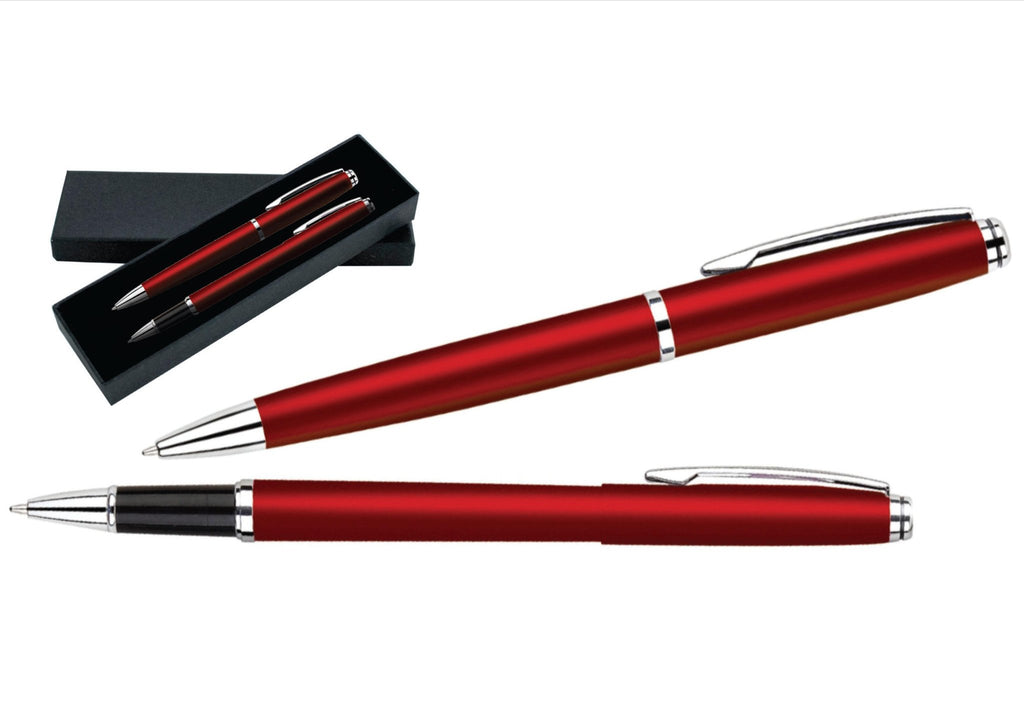 Burgundy and silver ballpoint pen and rollerball pen set 'helium' in presentation box