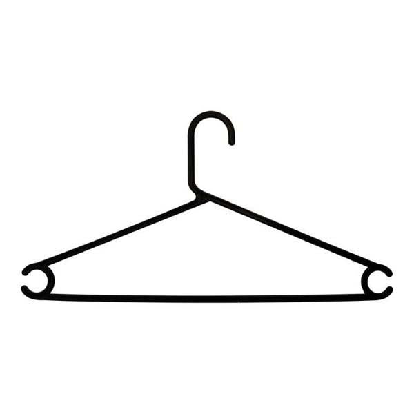 Black slim-line plastic trouser hanger ( set of 8)