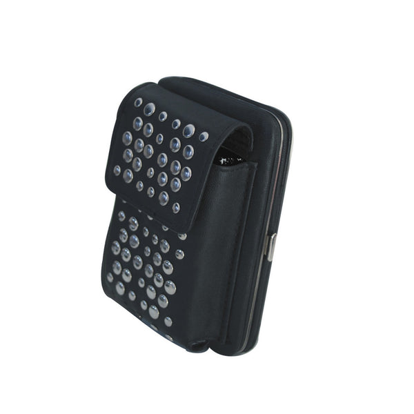 Black PU cellphone bag/wallet with metal studs and strap