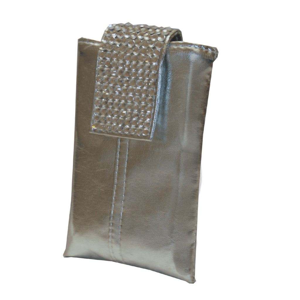 Silver PU cellphone holder with crystal flap and shoulder strap