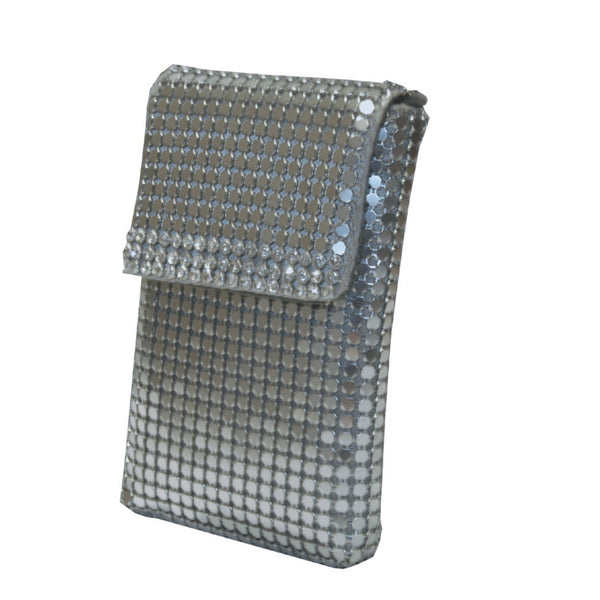 Silver 'chainmail' cellphone holder with crystal detail and silver chain