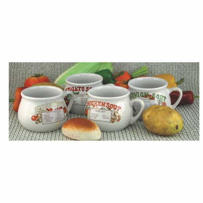 4pc soup mug set with recipes in gift box (450ml), Table - Presence