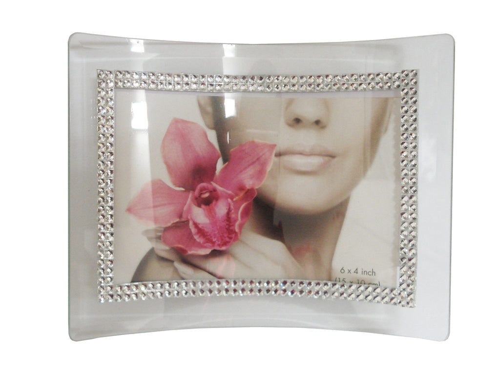 Glass and diamante 'curved' photoframe (Landscape)