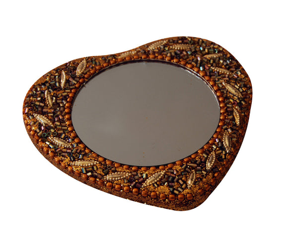 Heart shape mirror with gold bling beads