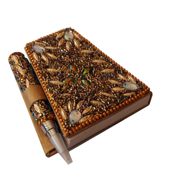 Heart range notebook with pen in gold bling beads